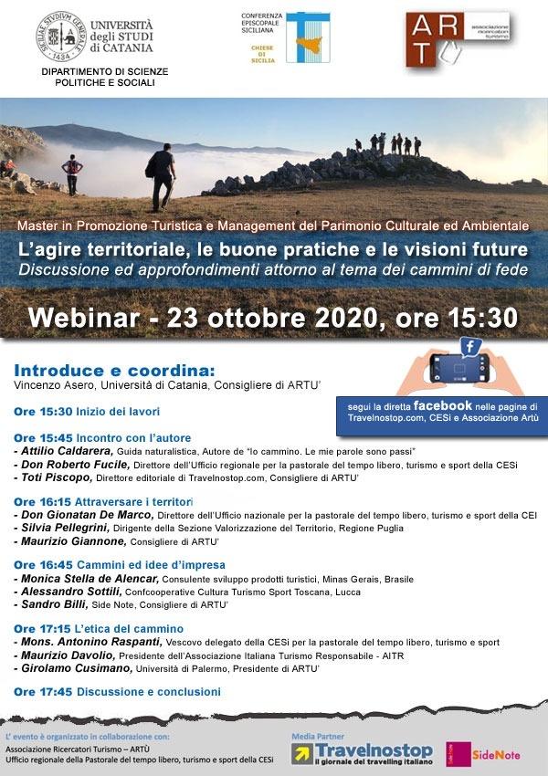 """""""L'AGIRE TERRITORIALE, LE BUONE PRATICHE E LE VISIONI FUTURE"""": WEBINAR SUI CAMMINI DI FEDE IN SICILIA"""