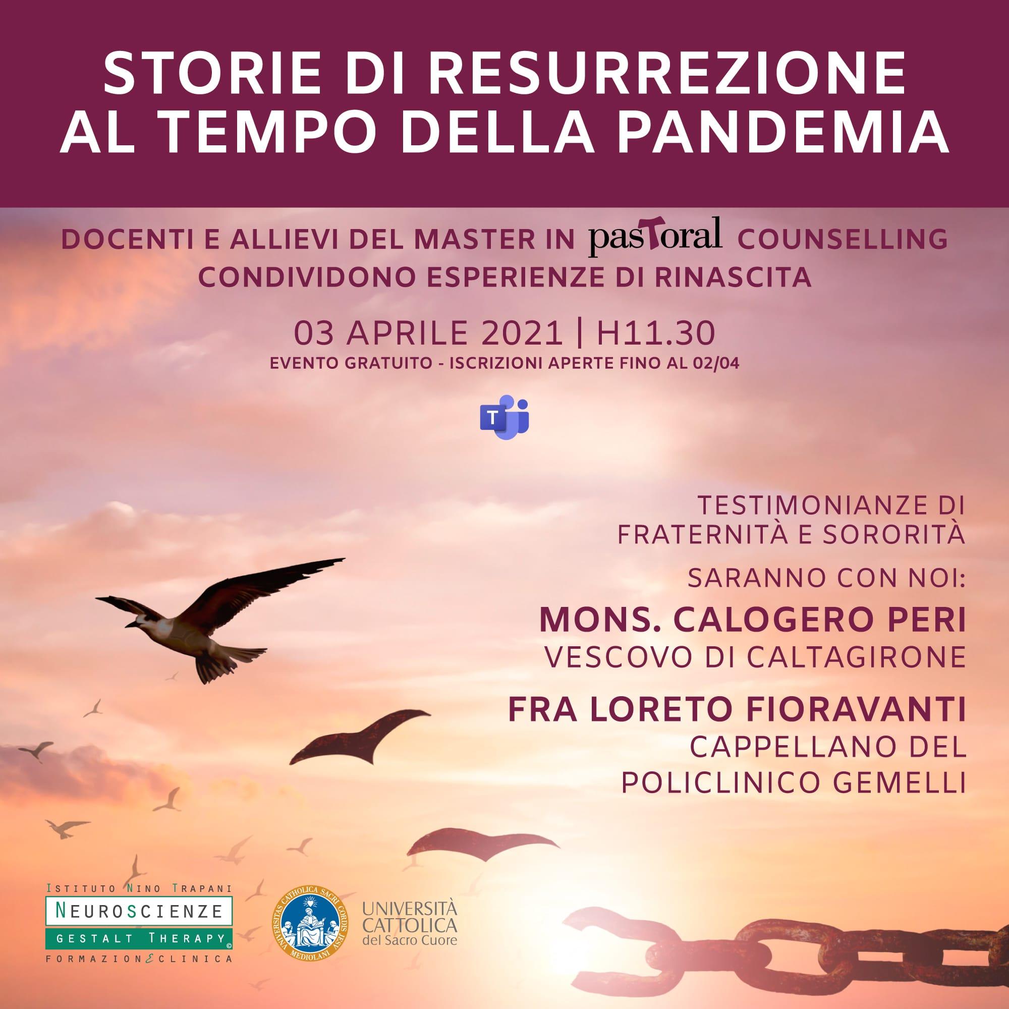 """""""STORIE DI RESURREZIONE AL TEMPO DELLA PANDEMIA"""": APPUNTAMENTO ONLINE DELLA GESTALT CON MONS. PERI"""
