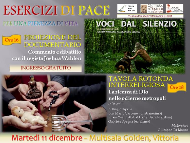 """""""ESERCIZI DI PACE"""": POMERIGGIO CINEMATOGRAFICO E DI DIALOGO INTERRELIGIOSO"""